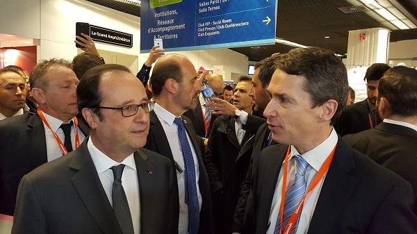 INPI_Le Président de la République, François Hollande a été accueilli par Romain Soubeyran, directeur général de l'INPI sur notre stand