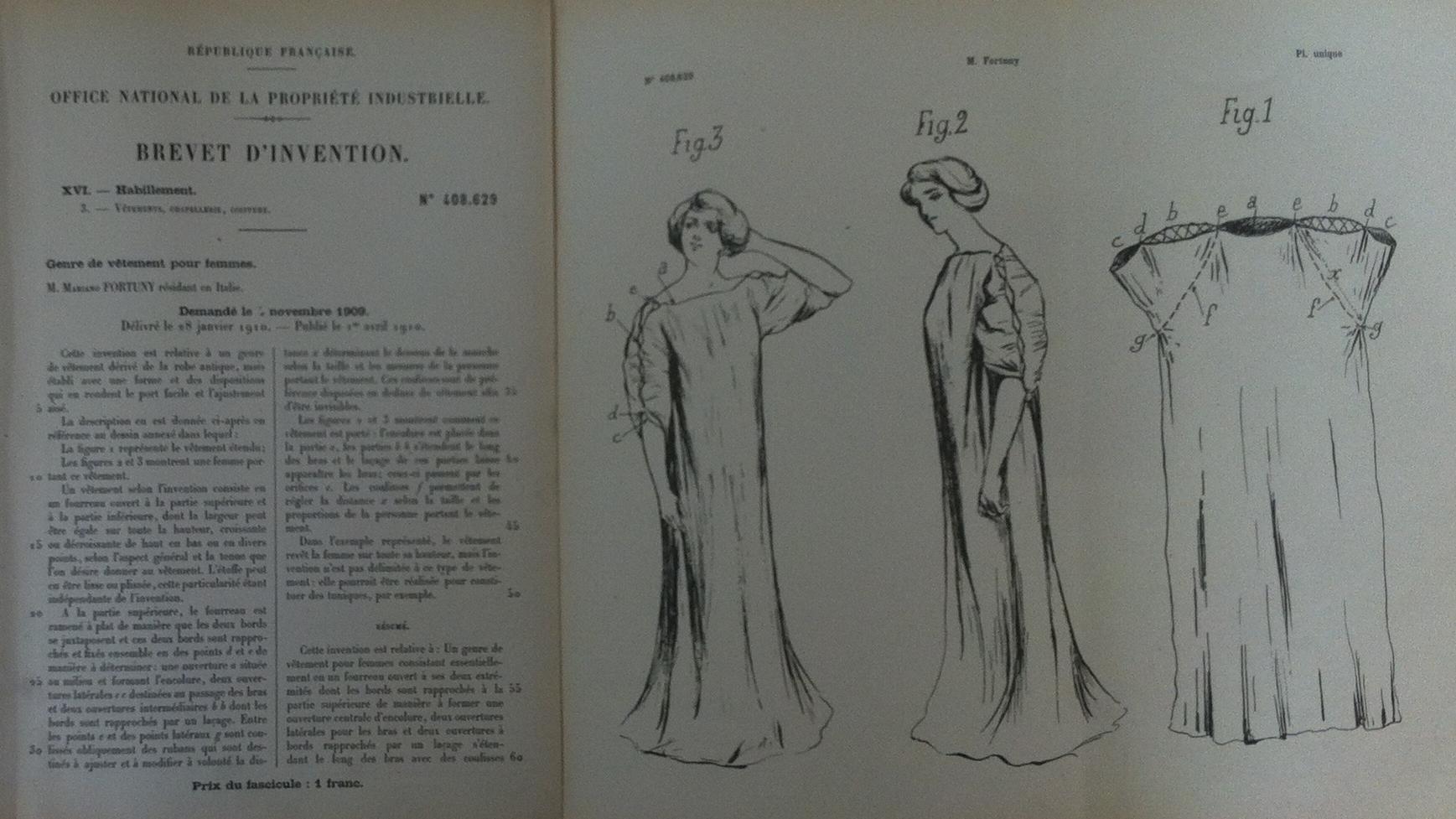 Brevet n°408629 déposé le 4 novembre 1909 par Mariano Fortuny pour un