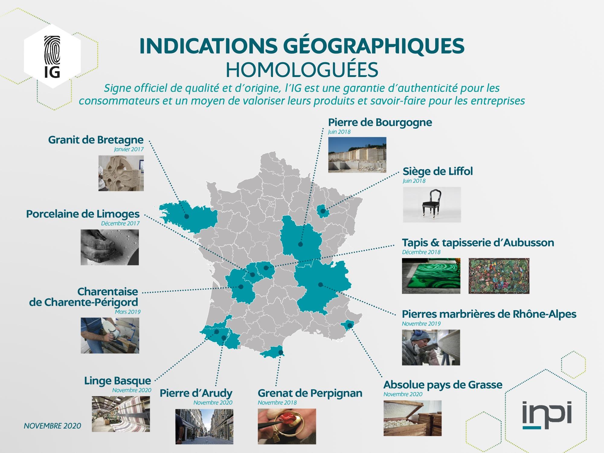 Carte de France des IG mise à jour en novembre 2020