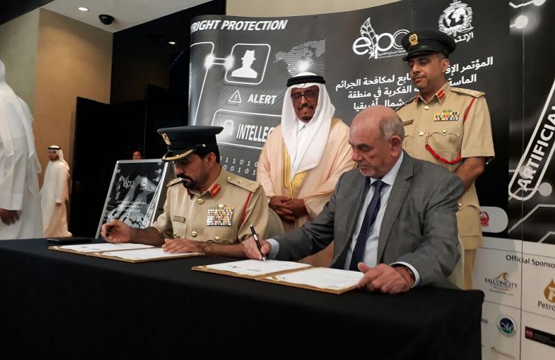 Crédit image INPI : Major Général Al Obaidly (Police de Dubaï) en compagnie du sénateur Yung (CNAC)