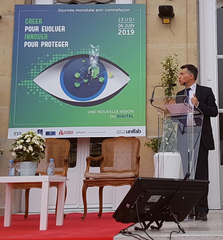 Crédit image INPI : Pascal Faure, directeur général de l'INPI a conclu cette 22è édition de la journée mondiale de lutte contre la contrefaçon