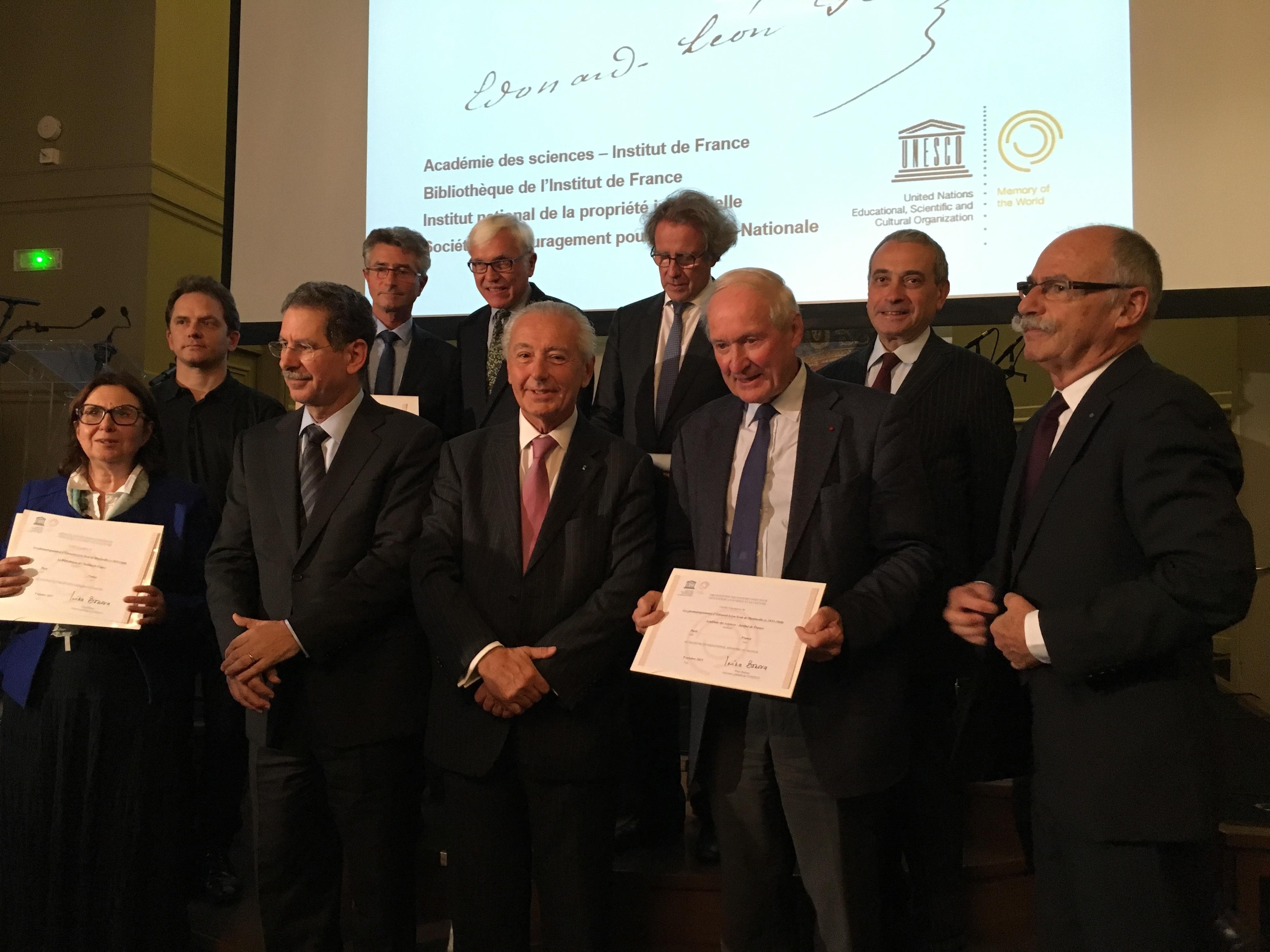 Remise du certificat d'inscription au registre international Mémoire du Monde à l'INPI, la SEIN, l'Institut de France et l'Académie de France / Crédit INPI