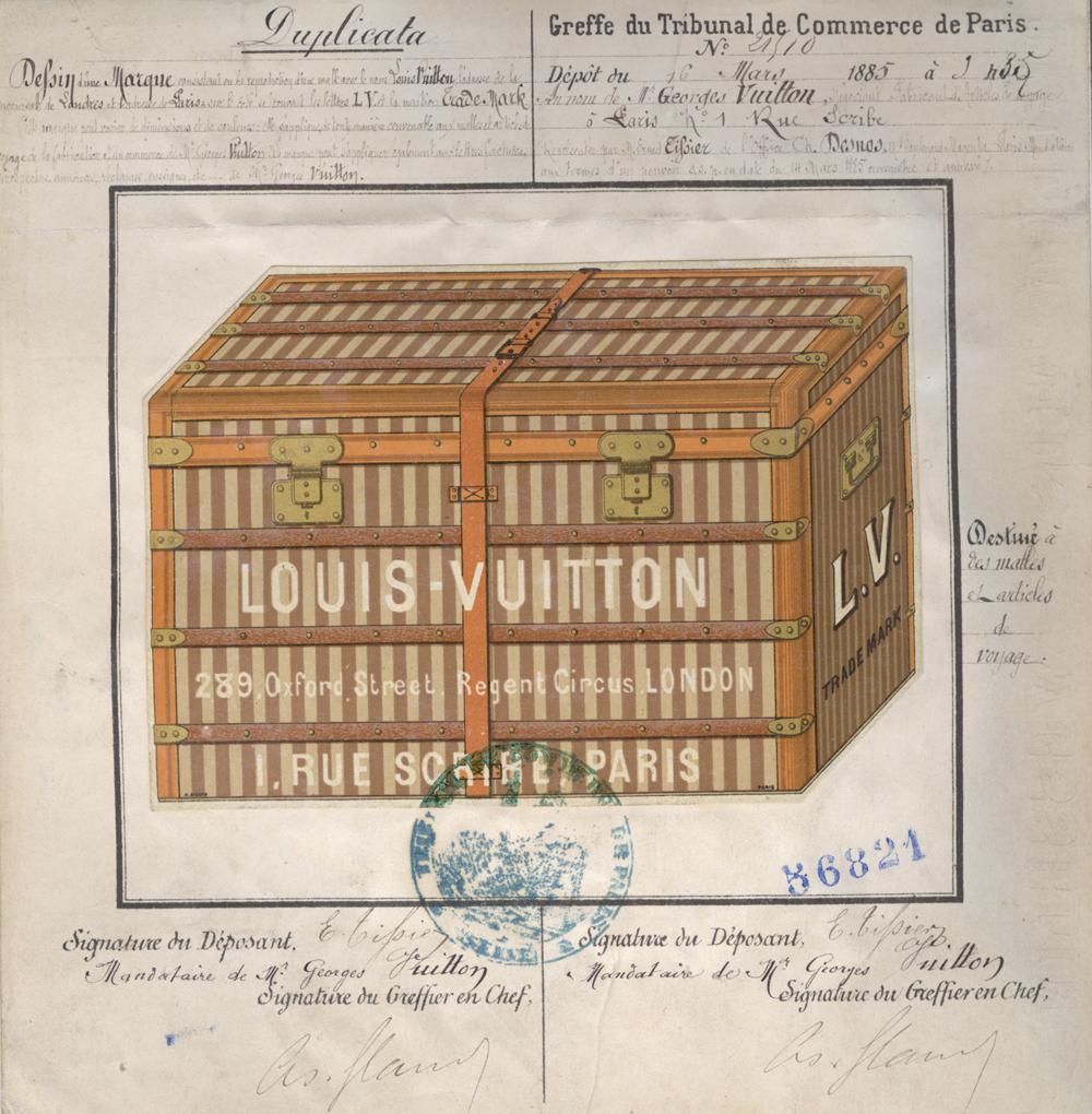 Marque de fabrique et de commerce déposée le 16 mars 1885 au greffe du tribunal de commerce de la Seine par Georges Vuitton, s'appliquant aux malles et autres articles de voyages