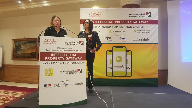 Crédit image INPI / Stéphanie Leguay, représentante du CNAC et Carole Bremeersch, conseillère régionale pour les questions de Propriété Intellectuelle au Moyen-Orient