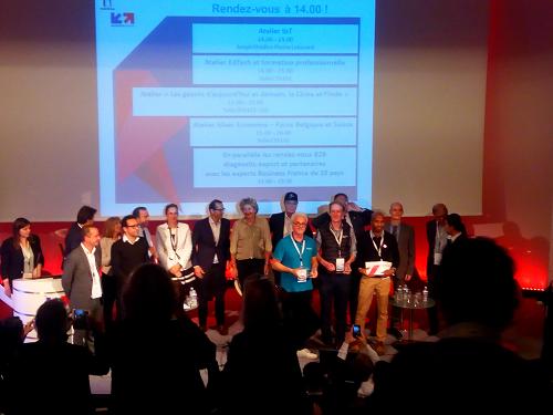Crédit image INPI, les lauréats de gauche à droite : les représentants de TellMePlus, Toucan Toco et Nanomade